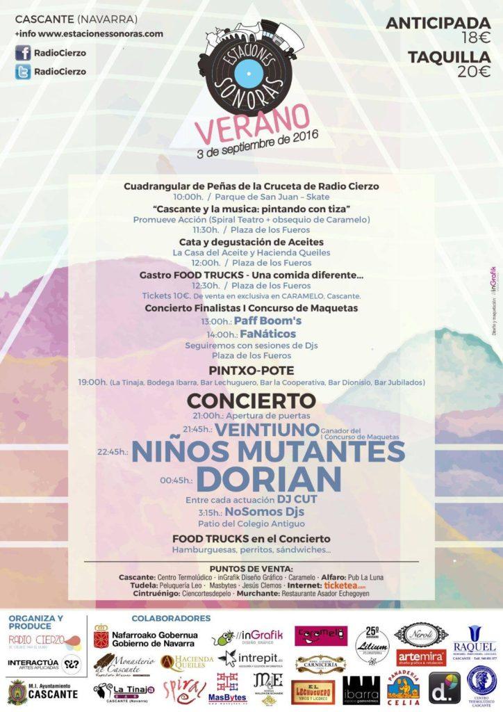 Estaciones Sonoras de Verano 2016 - Programa Completo Dorian Niños Mutantes Veintiuno Food Trucks Radio Cierzo Cascante Navarra