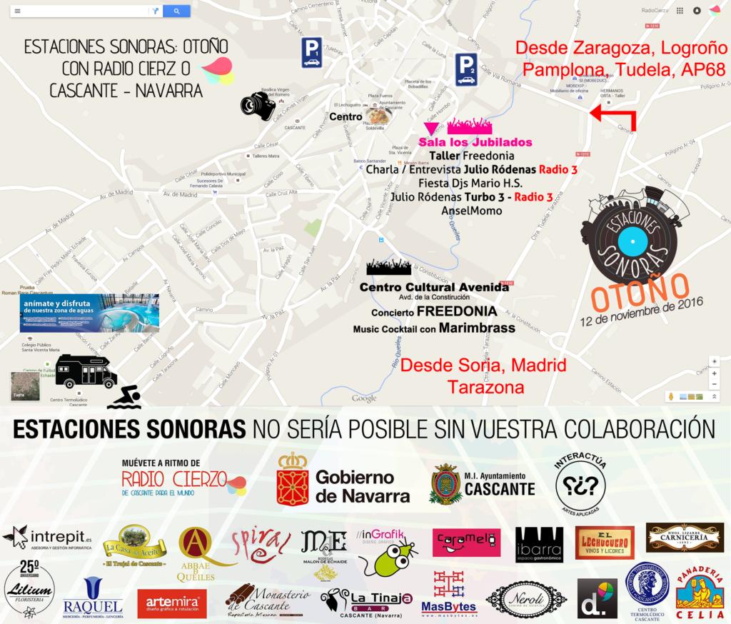 Estaciones Sonoras Cascante Navarra Radio Cierzo - Mapa Otoño 2016